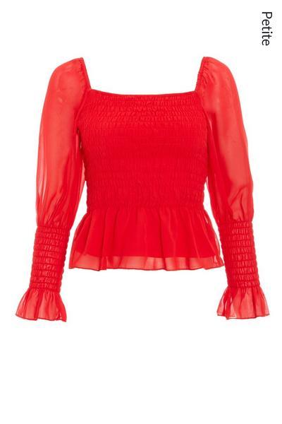 Petite Red Chiffon Shirred Peplum Top